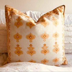 Mustard yellow floral pillow